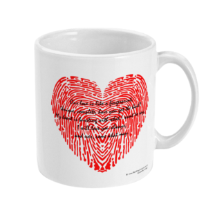 Fingerprint Poem Love Quote Fingerprint Heart Coffee Mug Valentines Gift Anniversary Gift Valentines Day Gift For Him Valentines Day Gift For Her For Him