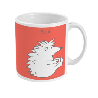 Hedgehog Yoga Pose Mug - Funny Boat Pose 11 floz Coffee Mug